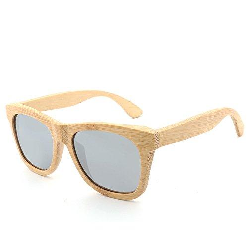 Man&Y Hohe Qualität Produkt Männer/Frauen Holz Polarisierte Sonnenbrille Retro Handmade Bambus Sonnenbrille für Freunde als Geschenke (Color : Gray)