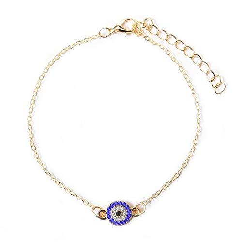MINGFENG Necklace 2 STÜCKE Kristall Türkische Bösen Blauen Augen Frauen Fußkettchen Barfuß Kette Armbänder (Gold) (Farbe : Gold) -