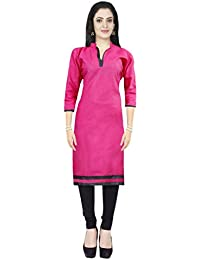AppleCreation Women Poly Cotton Kurti (Pink_kurtis For Women Pink Tops NF1001_X-Large)