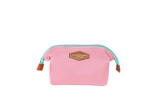 ILOVEDIY Portable Trousse de Toilette Marque Sac de Maquillage pour Sac a Main Voyage Femme Pliable (Rose)