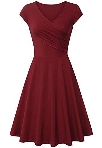 Avacoo Damen Retro Kleider Damen 50er Jahre Kurzarm Elegant Kleid Baumwolle Sommer Kleider Weinrot Medium 38