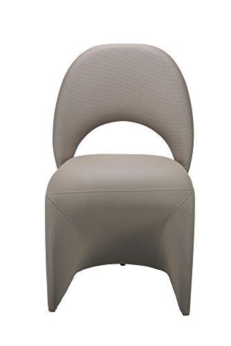 CAVADORE Schwingstuhl 2-er Set LOGAN / 2x gepolsterte Esszimmerstühle in modernem Design / Bezug Kunstleder beige / schlamm Farbe / 52 x 89 x 55 cm (B x H x T) - 6