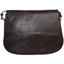 Hexagona - Sac porté travers en cuir ref_xga42086-marron-fonce-31 * 20 * 9