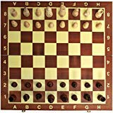Chess Board Set, Deluxe Folding Tournament Game Board with Storage Bags and Genuine Intricately Carved Stained Wood Pieces, Great for Travel By Creatov? by Creatov?