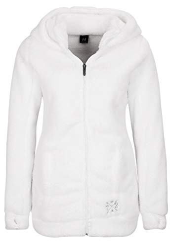 Sublevel Damen Teddy-Fleece Mantel | Kuscheliger Langer Fleecemantel mit hohem Kragen White XS