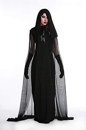 XXF Halloween Hexe Kostüm Vampir Weiblich Geist Dämon Geist Mantel Kostüm Hexe Kostüm Uniform Party Kostüm,Schwarz,L