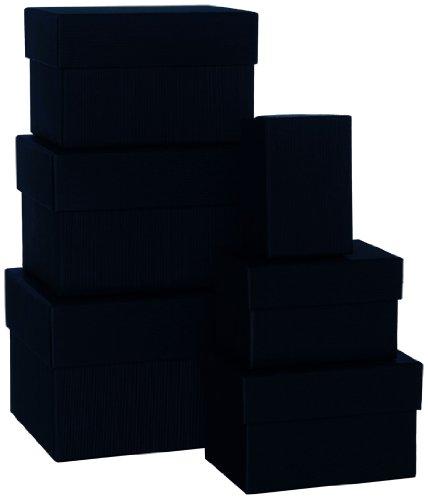 Rössler 1344453700 Boxle Lot de 6 boîtes rectangulaires en carton de différentes tailles Noir
