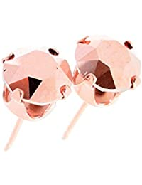 pewterhooter 18ct Rose Gold on 925 Sterling Silver Stud Earrings for Women Made with Rose Gold Crystal from Swarovski®. London Jewellery Box. Hypoallergenic & Nickel Free Jewellery for Sensitive Ears