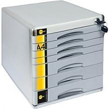 Farbe aus Kunststoff mit 3 F/ächern Yellow One Hochwertige Schubladenbox A4 abschlie/ßbar mit Schloss Blau