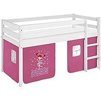 Preisvergleich für Lilokids Spielbett Jelle Zauberfee, Hochbett mit Vorhang Kinderbett, Holz, weiß, 198 x 98 x 113 cm