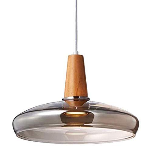 Mini Pendelleuchte Mundgeblasen Glas Hängelampe, Moderne Hängeleuchte Pendellampe, Hängeleuchte Mit Rundem Glas, Holz, Braun 1- Flammig Innenleuchte Esstisch Lampe - Braun Glas-esstisch