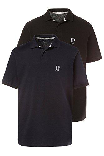 JP 1880 Herren große Größen bis 7XL | Poloshirt Set | 100 % Baumwolle | Shirt mit Kragen, Logo und unifarben | Halbarm, Seitenschlitze & Cotton | Regular Fit | 704317 schwarz, marine