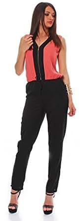10489 Fashion4Young Damen ärmelloser Jumpsuit Overall Hosenanzug in Longform mit V-Ausschnitt. 36/38 (36/38, Coral Schwarz)