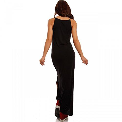 Damen Maxikleid Strandkleid mit Ausschnitt Schwarz