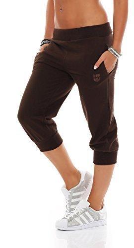 Gennadi Hoppe Damen 3/4 Trainingshose Sporthose Kurze Hose Sport Fitness Jogginghose Shorts Barmuda, braun,XL