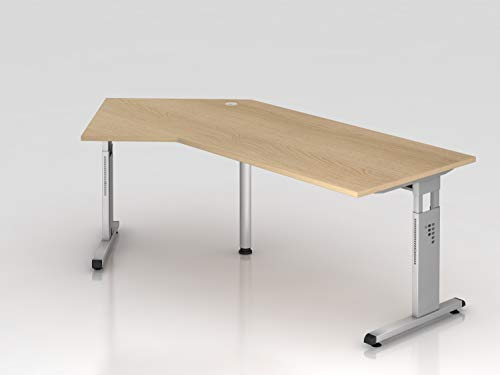 Winkeltisch C-Fuß 210x113cm 135°Eiche/Silber -