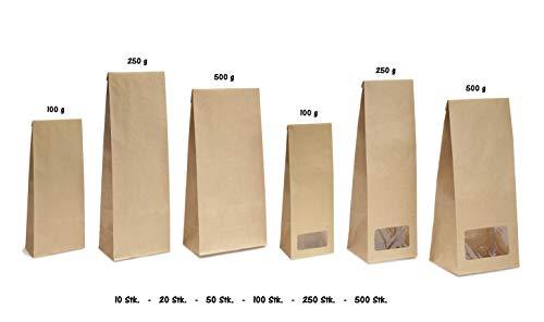 Blockbodenbeutel mit/ohne Sichtfenster - Papierbeutel Bodenbeutel für Tee Gewürze Gebäck Lebensmittelverpackung in 100g/250g/500g - Größe 80 x 60 x 270 mm (250g - mit Sichtfenster, 100 Stk.)