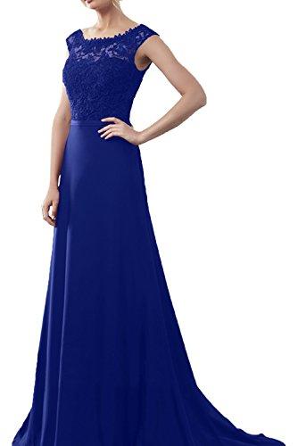 La_Marie Braut Weinrot Langes Festlich Damen Abendkleider Ballkleider Chiffon Kleider lang mit Spitze Royal Blau