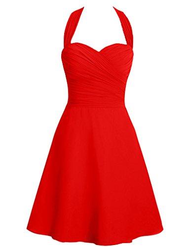 HUINI Halter Cinghie Breve Chiffon Damigella vestiti da ballo Matrimonio Partito Abiti da Cerimonia Rosso