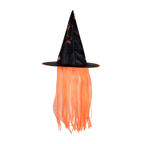 Amosfun Halloween Hut Hexe Dress Up Cap Perücke Hüte Halloween Kostüme Make-Up Requisiten für Cosplay Party Festival Maskerade (Orange)