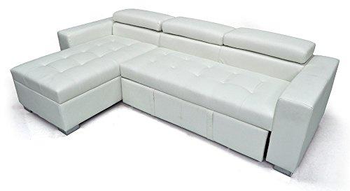 Divano letto angolare con chaise longue a sinistra - divano 3 posti con penisola contenitore - mod. morgana in ecopelle bianco