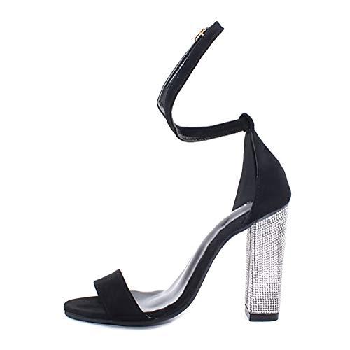 Minetom Damen High Heels Sandalen Transparente Peep Toe Sandalen Knöchel Schnalle Party Freizeit Hochzeit Abend Sommer Schuhe Schwarz 38 EU (Schuhe Bling Hochzeit)