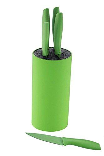 Ronde Bloc à couteaux Set de couteaux Set de couteaux 6 pièces Set de couteaux de cuisine Ensemble vert (Couteau de cuisine, couteau à pain, couteau à découper, couteau éplucheur, couteau de chef)