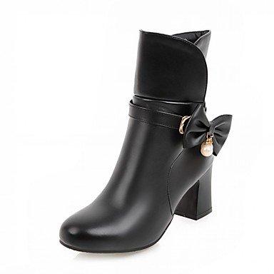 Rtry Women's Leatherette Chaussures Hiver Printemps Mode Bottes Bottes Chunky Talon Bout Rond Bottines / Bottines Bowknot Pour Bureau Casual & Carrière Us8.5 / Eu39 / Uk6.5 / Cn40