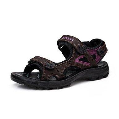 zhENfu Women's Sandals Comfort Pigskin Leather Spring Casual Ivory Dark Brown Black Flat Dark Brown