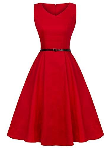 Women's V-Neck Sleeveless Vintage Swing Teal Dress Belt YL001(4XL, Red) (Wedding Teal Red Und)