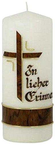 Wiedemann Trauerkerze Kreuz mit Borte marmoriert in Lieber Erinnerung, Wachs, Braun, 20, 0 x 8, 00 x cm, 1 Einheiten (Borte Kreuz)