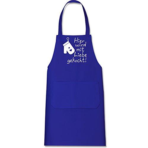 Shirtracer Küche - Hier wird mit Liebe gekocht - 80 cm x 73 cm (H x B) - Royalblau - X967 - Kochschürze mit Tasche