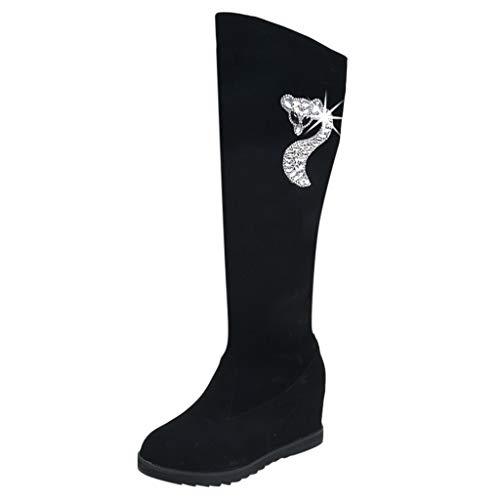 Damen Winter Stiefel 2019 Frauen auf dem Knie elastische Stiefel Stiefel Schuhe sexy Mittelrohr Keil Schuhe Stiefel Warm Stylisch Ausgehen Wild Jeden Tag Schuhe(Schwarz,39 -