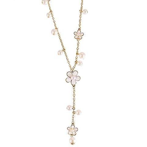 Collier de Vêtement Fleurs Mode à Cinq Pétales Perle Artificiel Collier Pendentif Chaîne de Chandail - Blanc