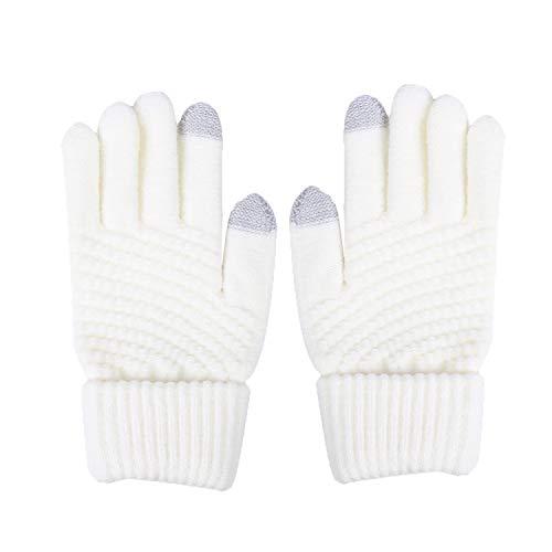 Touch Gloves für Touchscreen Smartphone Handschuhe Warme Handschuhe Damen Herren Winter Handschuhe Touchscreen Handschuhe Kaschmir Drinnen Draußen Fahrradhandschuhe (weiß)