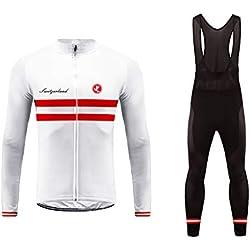 UGLYFROG#02 Bike Wear Designs Maillots de Bicicleta Maillots de Bicicleta Traje de Invierno Hombres Ropa de Ciclo Jersey de Manga Larga + Pantalones Bib Acolchados Cómodo Respirable Secado