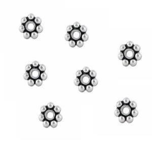 Five Season 5mm Sterling Silver Bali Daisy Spacer Beads White Bronze Core for Bracelets DIY Jewelry Making (About 100pcs ) by Five Season