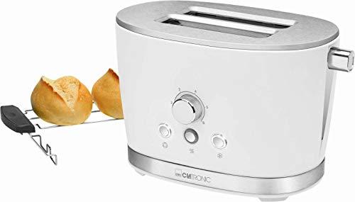 Tostadora blanca con accesorio para panecillos de acero inoxidable, termostato regulable (retro, 850 W, 2 ranuras para tostadas, bandeja para migas)