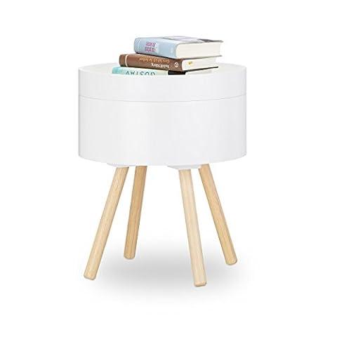 Relaxdays Beistelltisch rund Vintage Design, 70er, Nachttisch mit Tablett, kleiner Couchtisch, Staufach, HxBxT: 49x40x40 cm,