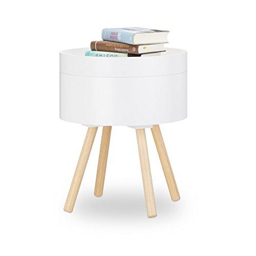 Relaxdays Beistelltisch rund Vintage Design, 70er, Nachttisch mit Tablett, kleiner Couchtisch, Staufach, HxBxT: 49x40x40 cm, weiß