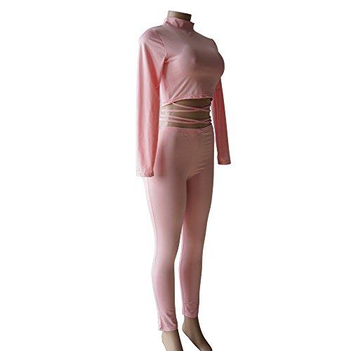 ALAIX Damen Figurbetontes Sexy Party Club Zweiteiliger Jumpsuit Rosa