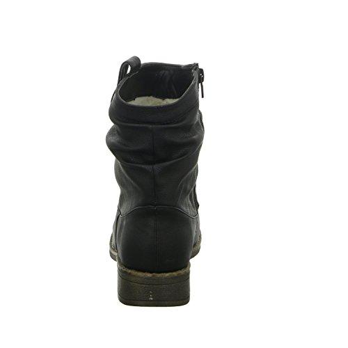 Alyssa 1137-1 Damen Schlupf/Reißverschlussstiefelette Warmfutter sportlicher Boden Schwarz (Schwarz)