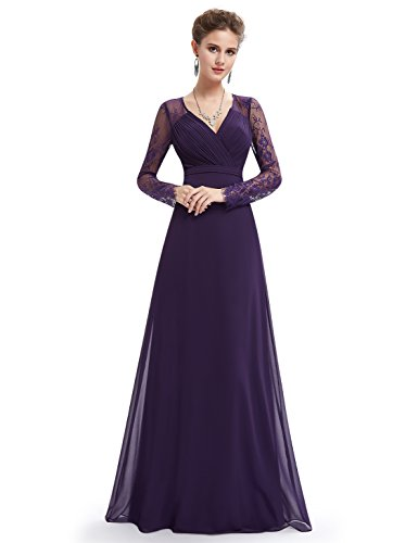 Ever Pretty Women's Elegant V-Neck Long Sleeve Evening Party Dress 08692