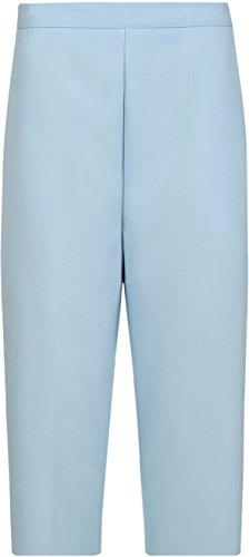WearAll - Pantacourt simple avec taille élastique et les poches - Pantalons - Femmes - Grandes tailles 40 à 52 Bleu Clair