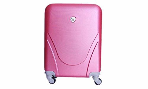 Maleta pequeña para cabina rígida 4 ruedas 360º gira equipaje de mano Low cost (PINK)