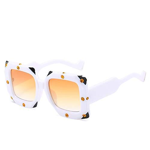 Sonnenbrillen. Übergroße Quadratische Sonnenbrille Frauen Strass Sonnenbrillen Spiegel Beschichtung Mode Frauen Schattierungen Outdoor Reisen Sommer Uv400 Weiß Farbverlauf Rosa