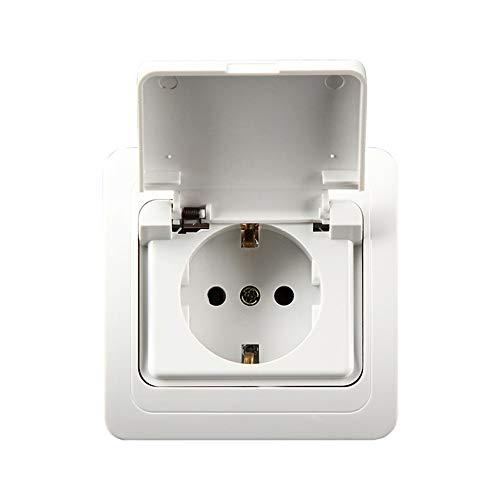 Haushalt Europäische Deutsche Steckdose ABS Spritzwassergeschützter EU-Stecker Wasserdichte Steckdose for die Hauswand - Europäische Steckdose