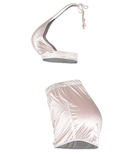 Choose Women's Sexy Schlinge Seidig Satin 2pc Nachtwäsche Pyjamas Weiß