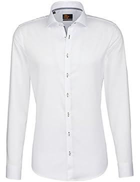 Seidensticker Herren Langarm Hemd UNO Super Slim Spread Kent Patch3 weiß strukturiert 675379.01