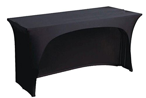 BLACK spandex stretch cover tablecloth for 4ft foot table 1 SIDE ARCHED . DJ BUFFET BAR by stretchycovers (Dj Cover)